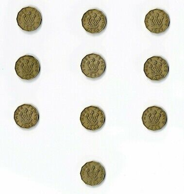Threepence 3p 3 Pence Three Coin Coins 1937 1938 1939 1940 1941 King George VI