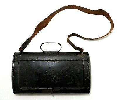 Rare Mid-19Th C Antique Us Tin Mail Bag, W/Hinged Cover, Leather Shoulder Strap
