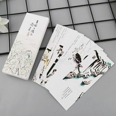 30 pcs Chinese Style Painting Cards Paper Bookmarks Retro Vintage Boxed Bookmark