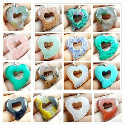 Natural Mixed agate carved Heart-shaped Pendant Gem JewelryMaking Necklace 12pc