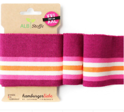 Albstoffe cuff me ribbing 8cm Glam pink striped 140 cm long sold by piece