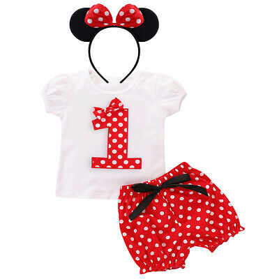 2pcs Baby Girl Clothes Set Short Sleeve Polka Dot Minnie Mouse Dress Headband Baby Girls Birthday Mickey Mouse Cake Smash Outfit 100% Guarantee Mother & Kids