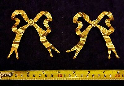 Pair Decorative Moulding Antique Ribbon Gold Gilt Or White Wall Decoration
