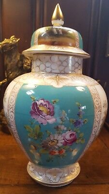 Antique Porcelain Dresden urn vase decor Meissen style blue crown mark Germany
