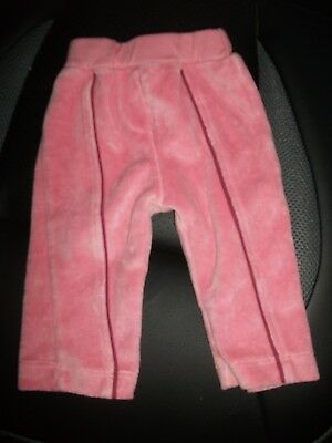Baby Girls Pink Velour Trousers with Front Piping- Age 0-3 Months