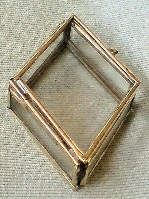 "PRETTY BRASS & GLASS SMALL DIAMOND SHAPED BOX  L 2.75""x W.2""x H 0.5"". £3.95  NWT"