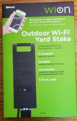 Wion 50053 Outdoor Wi Fi Yard Stake 3 Grounded Outlets New Sealed Box  Free Ship