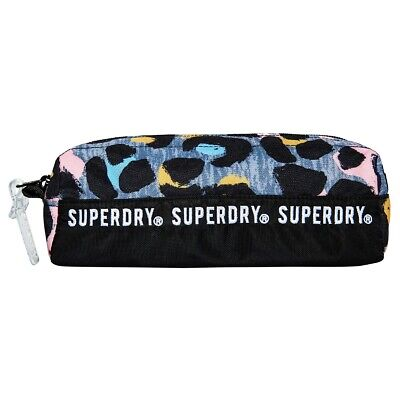 Superdry NEW Women's Repeat Series Pencil Case - Grey Marl / Liona Leopard BNWT