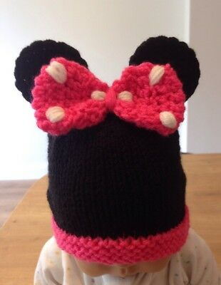 Hand Knitted Baby Minnie Mouse Inspired Hat