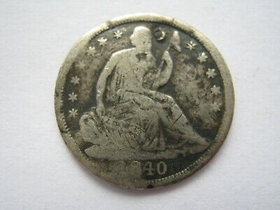 United States 1840 silver Half Dime Poor holed