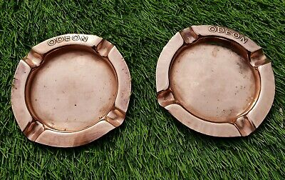 Antique vintage Hollywood cinema collectable pair of ODEON copper ashtrays