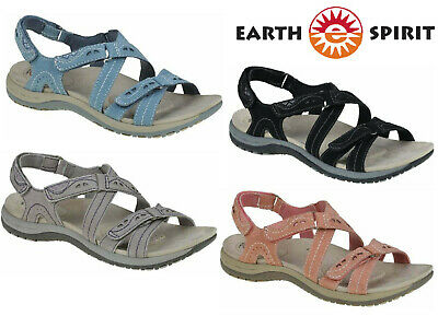 Ladies Sandals Earth Spirit Leather Comfort Walking Summer Touch Fastening Shoes