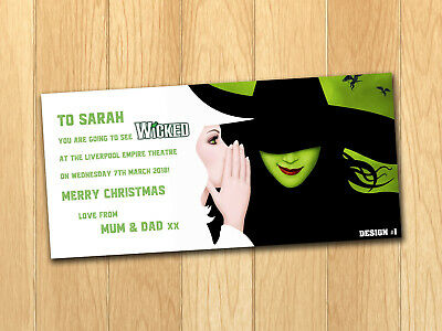 Wicked Gift Card Voucher Present Birthday Christmas Ticket with envelope Concert