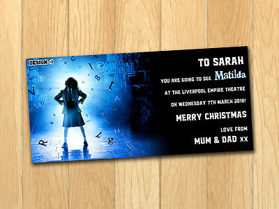 Matilda Gift Card Voucher Present Birthday Christmas Ticket with envelope