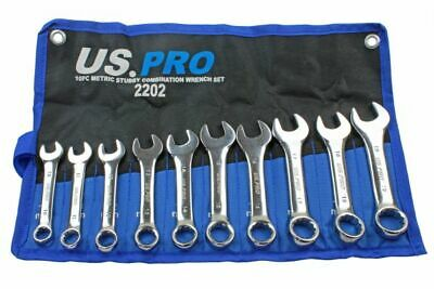 US PRO Stubby Spanners 10pc Short Reach Combination Spanner Set 10mm-19mm 2202