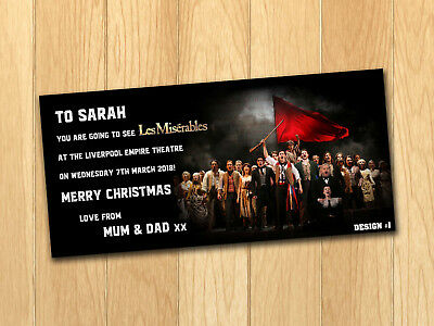 Les Misérables Gift Card Voucher Present Birthday Christmas Ticket with envelope