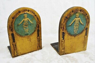 Antique Wood Carved Religious Baby Themed Bookends Gold Gilded Gesso