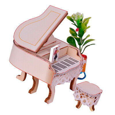 1:24 Miniature Upright Piano with Stool Set Dolls House Accessories Beige