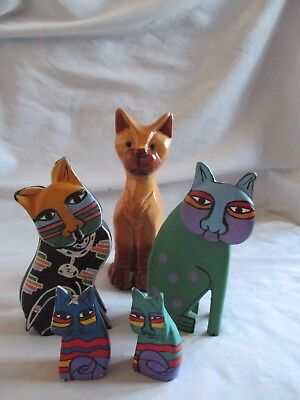 Cats - 5 ornamental cat 4 brightly painted & 1 pottery Job lot