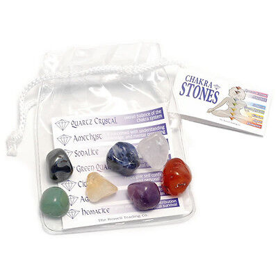 Chakra Tumbled Stones Set In Clear Pouch - Healing Reiki Charged