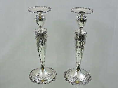Magnificent Antique Sterling Silver Pair Candlesticks Finest Quality American