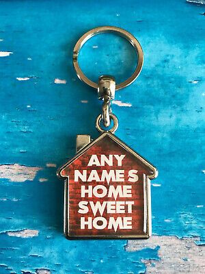 Personalised Keyring - House - Home Sweet Home - Keys - ANY NAME / TEXT