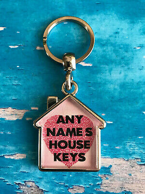 Personalised Keyring - House - Home - Office - Keys - Heart - ANY NAME / TEXT