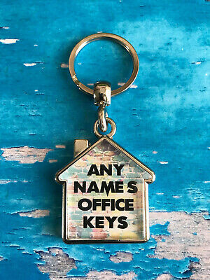 Personalised Keyring - Office - Home - House - Any Text / Name - Double Sided