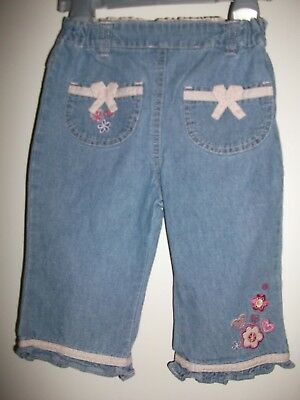 Little Bundle Baby Girls Pale Blue Embroidered Cotton Trousers - Age 6-9 Months