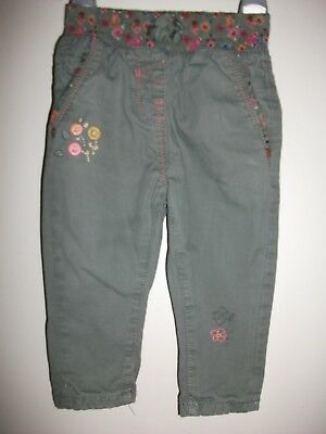 Next Baby Girls Olive Green Embroidered Trousers - Age 6-9 Months