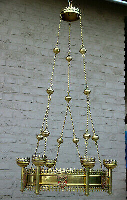 HUGE Church brass copper chandelier candle holders religious neo gothic french