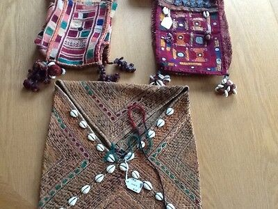Ethnic textile embroidered bags with mirror and bead work