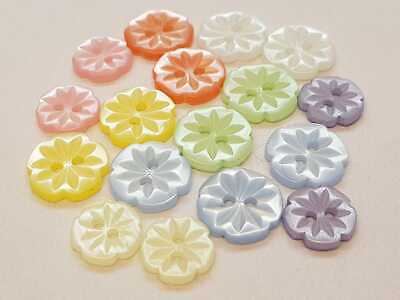Flower Buttons - Baby/Childs/Ladies 2 Hole - 13mm & 15mm - 8 Colours Available