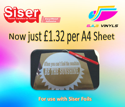 A4 Sheets -Siser Adhesive HTV Vinyl - for use with Siser textile Foils