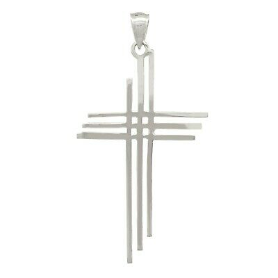 "14k White Gold Solid Calvary 3 Cross Religious Charm Pendant 1.75"" 1.8 grams"