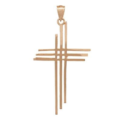 "14k Rose Gold Solid Calvary 3 Cross Religious Charm Pendant 1.75"" 1.8 grams"