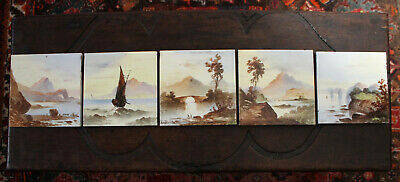 Five Antique Hand Painted Tiles Depicting Rural and Ocean Scenes, Highlands