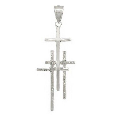 14k White Gold Solid Calvary 3 Cross Religious Charm Pendant 2.1 grams