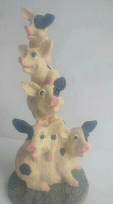 Vintage Adorable Stack of Pigs Country Charming Decor Figurine