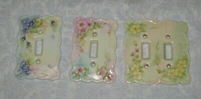 3 Vintage Ceramic Flower Light Switch Covers 2 Singles, 1 Double