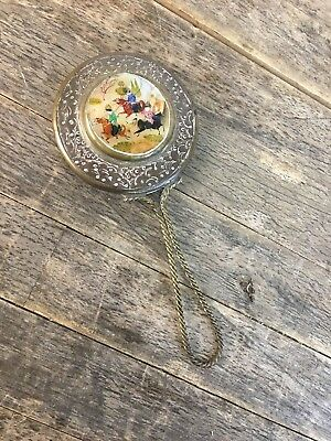 19th Century Chinese Copper & Brass Hand Held Mirror With Mother Of Pearl Panel.