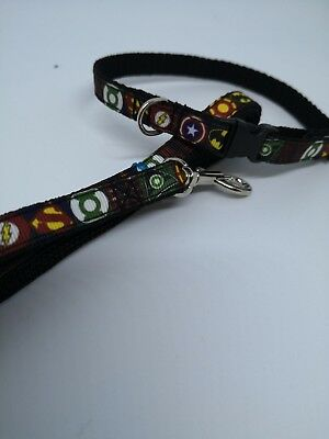 "SMALL SUPERHERO DOG COLLAR + LEAD, 10MM WIDE   CHIHUAHUA 8""-12"" neck."