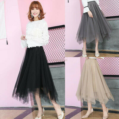 New Womens Elastic Waist Tulle Irregular Mesh Pleated Tutu Maxi Midi Skirt Dress