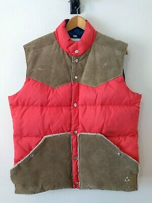 Vintage Down Suede Trim Puffer Vest Gerry G Outdoor Sports Made in USA Mens L