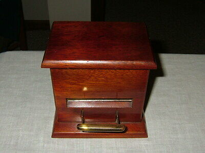 Antique, Wooden & Brass Cigarette Dispenser, Prima, Paris, France, Early 1900's