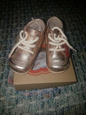 8caa412b78d42 Girls Infant Size 20 Infant Size 4 Rose Gold Leather Kickers Kicker Shoes  Boots