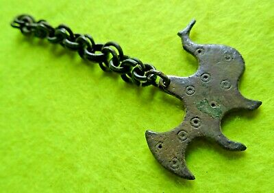 Viking Ancient Decorative Bronze Pendant Zoomorphic Amulet