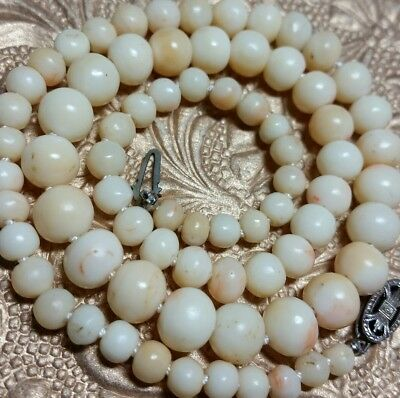 Vintage Antique Chinese Sterling Genuine Angel Skin Coral Bead Necklace