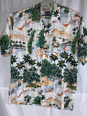 05f92e72 PINEAPPLE CONNECTION Men's L Rayon Aloha Hawaiian Inspired Button Up Shirt