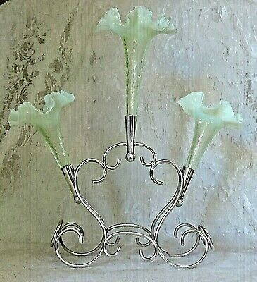 Large Victorian Centerpiece Epergne 3 Fluted Vaseline Uranium Yellow Glass Vases
